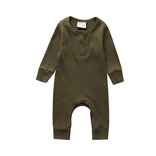 Voydsunflower Newborn Baby Boys Girls Solid One Piece Knitted Romper Button Bodysuit Ribbed Jumpsuit Fall Winter Clothes