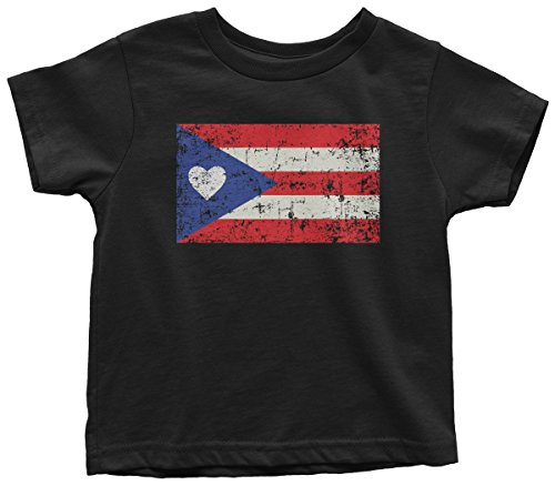 Price comparison product image Threadrock Kids Puerto Rico Flag With Heart Toddler T-Shirt 2T Black