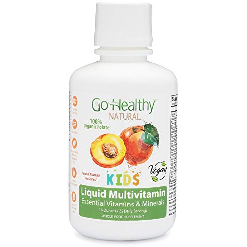 Go Healthy Natural Kids Liquid Multivitamin with Organic Folate, Vegan, Fruit & Plant-Based Whole Food 32 Servings, Benzoate Free, Non-GMO, Gluten Free