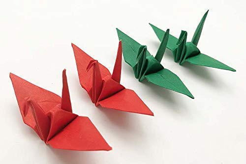 100 Origami Paper Crane Red 3x3 inch folded