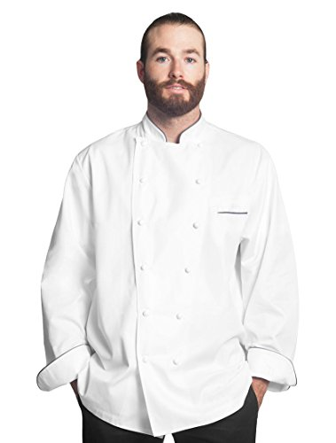 Bragard Exclusive Design Men's perigord Chef Jacket - White With Gray Piping Cotton - Size 40 by Bragard