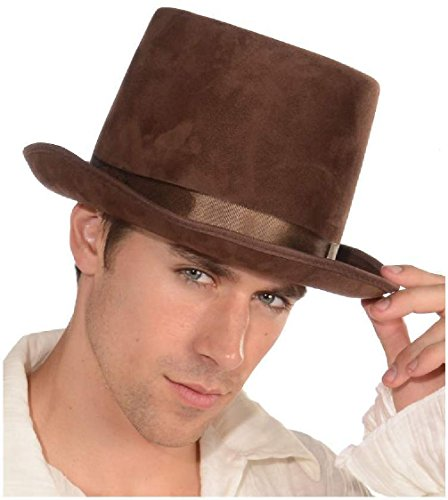 [Steampunk Willy Wonka Brown Suede Bell Topper Top Hat Adult Costume Accessory] (Willy Wonka Costumes Girl)
