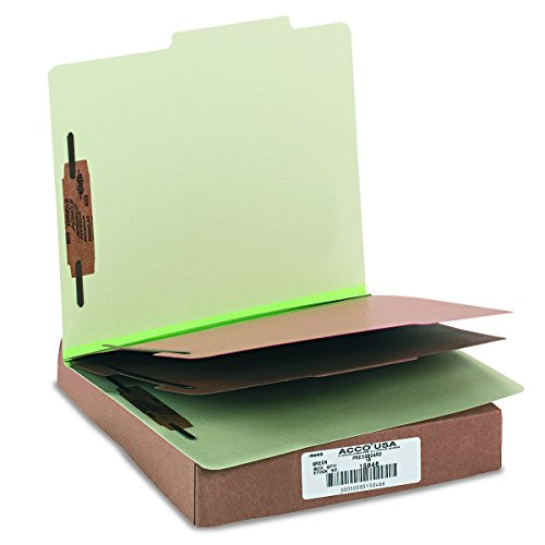 ACCO Classification Folders with Fasteners, Pressboard, 6-Part, Letter Size, Green, 10 per Box - Six Part