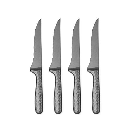 (Cambridge Silversmiths Nero 4-Piece Steak Knife Set, Stainless Steel)