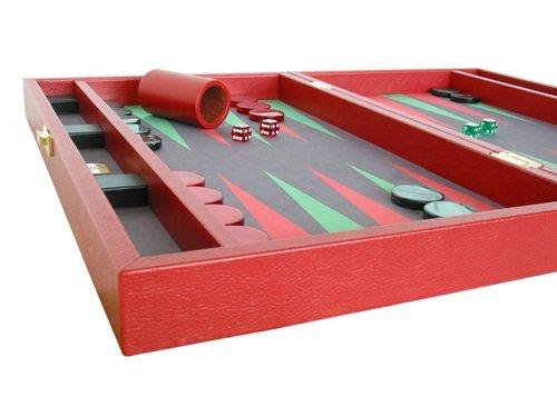 "Zaza & Sacci Backgammon Set - Genuine Leather - Microfiber Playing Surface 20"""