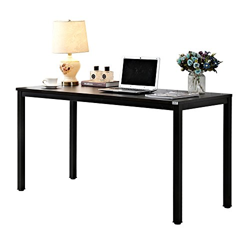 AUXLEY Modern Simple Computer Desk for Home Study, Waterproof and Anti-Scratch Double Deck Wood and Metal Office Table, 55