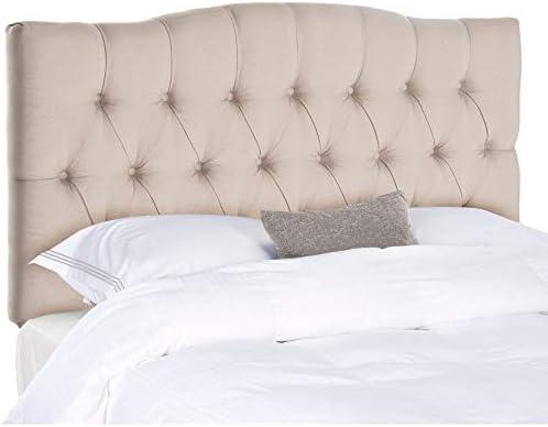 Safavieh Axel Taupe Linen Upholstered Tufted Headboard King