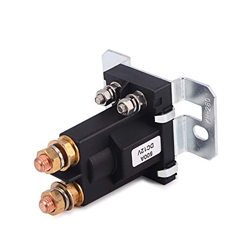 Starter Motor Relay Connector - WINJUN 4Pin Auto Starter Relay 12V DC 500 Amp Vehicle SPST Contactor Double Batteries Isolator Control On/Off Switch, Heavy Duty, High Current, with Connection Accessory