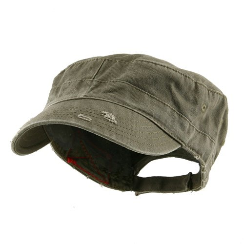 Enzyme Frayed Army Caps - Enzyme Frayed Solid Army Caps-Olive