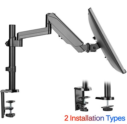 """IMtKotW Single Arm Monitor Desk Mount Stand, Height Adjustable Full Motion Gas Spring Monitor Mount Riser with C Clamp/Grommet Base Fits 17""""-32"""" LCD LED Computer Screens Hold up to 17.6lbs"""