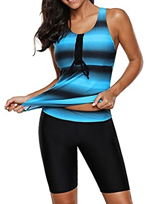 Aleumdr Womens Racerback Color Block Print Tankini Swimsuits with Swim Capris S-XXXL