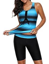 254e40feebc Womens Racerback Color Block Print Tankini Swimsuits with Swim Capris S-XXXL