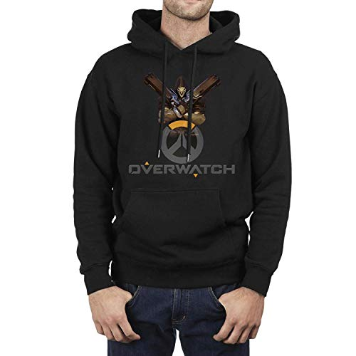 FAJDLD Overwatch-Skull-Gun-Hoodies for Men Winter Fleece Hoodie Sweatshirt Pullover Hoodie Sweater