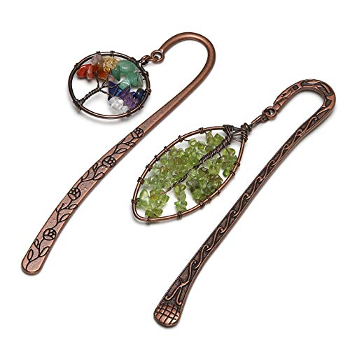 JOVIVI 2pcs Anqitue Copper Metal Bookmark Beading Bookmarks with Handmade 7 Chakra Healing Crystals Tree of Life Tumbled Gemstones & Leaf Bead