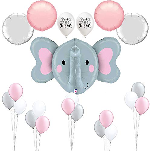 Combined Brand Pink Elephant Baby Shower Decorations Elephant Balloon Room Decoration Set ()