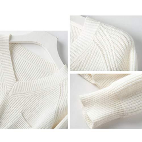 Calda color Scollo White Beige Da Uzanesx Donna V Con Sopra Lunga Size Maglione Il Maglia 3xl A Ginocchio Al S Xl Manica IP1UTS