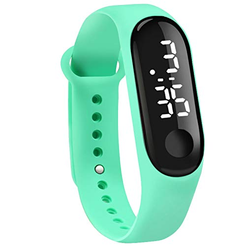 Touch Sn Dial White Light Display Silicone Strap Men Women Wrist Student Kids Sport Outdoor Clock - Green Silicone Dial Light