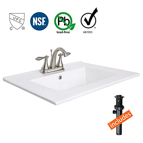 Eclife 24'' Drop in Rectangle Bathroom White Ceramic Sink Top Countertop with CUPC&NSF&AB1953&Lead Free High Arc Temp Control 3 Head Faucet T0102 (Brushed Nickel 02) by Eclife