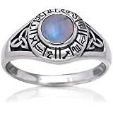 a6da6ab880e40 Zodiac Wheel Astrological Symbols Sterling Silver Celtic Knot and Rainbow  Moonstone Ring(Sizes 4