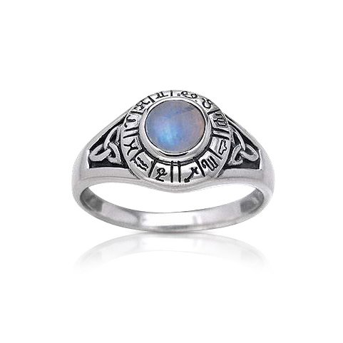 Zodiac Wheel Astrological Symbols Sterling Silver Celtic Knot and Rainbow Moonstone Ring Size 6(Sizes 4,5,6,7,8,9,10,11)