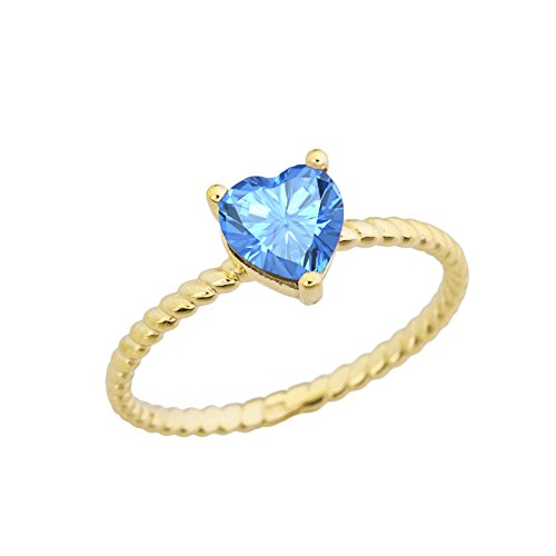 (Dainty 10k Yellow Gold Heart-Shaped Blue Topaz Solitaire Rope Engagement/Promise Ring (Size 6.5))