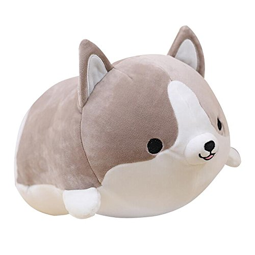 Levenkeness Corgi Dog Plush Pillow, Soft Cute Shiba Inu Akita Stuffed Animals Toy Gifts (gray, 11.8 in) by Levenkeness