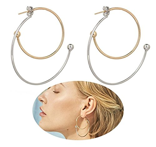Geerier Double Circle Spiral Clip on Earrings Gold Silver Multi Silver Gold Color Swirl Stud Earring For Women