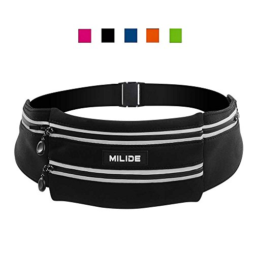 MILIDE Running Belt Waist pack for iphone x 8 7 plus With Reflective Strips Runner Workout | Waterproof Canvas Runners Belt|Phone Fanny Pack For Men,Women,Hiking Cycling,Travel,Workout,Sports
