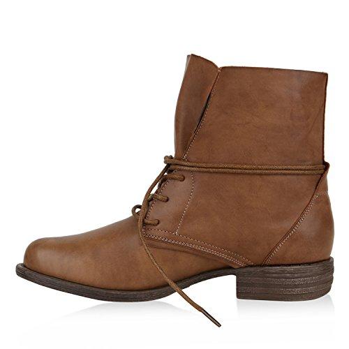 Stiefelparadies Damen Schnürstiefeletten mit Blockabsatz Basic Flandell Hellbraun Braun