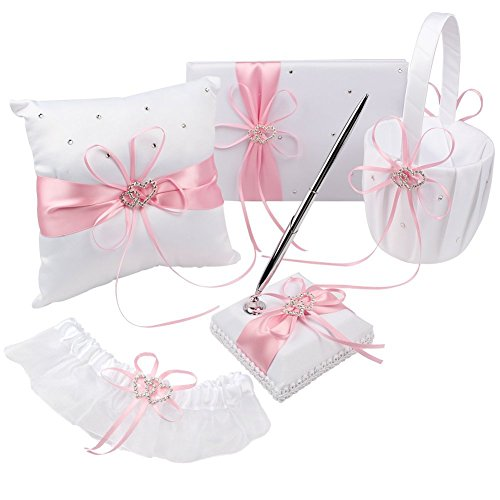 KANECH 5pcs Sets-Pink Satin-Wedding Flower Girl Basket and Ring Bearer Pillow Set (Ring Pillow + Flower Girl Basket + Wedding Guest Book +Pen Set + (Guest Book Pen Set Ring)