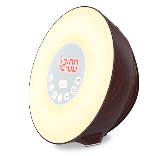 Light Natural Alarm Clock ([2018 UPGRADED]COULAX Wake Up Light Alarm Clock, Digital Alarm Clock with Sunrise Sunset Simulation, FM Radio, 10 Brightness, Natural Sounds, Snooze Function Bedside Night Light for Kids and Adults)