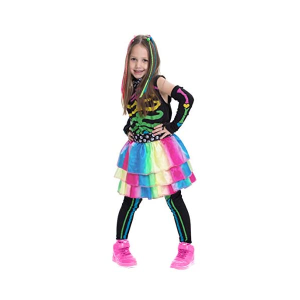 Funky Punky Bones Colorful Skeleton Deluxe Girls Costume Set with Hair Extensions for Halloween Costume Dress Up Parties. 5