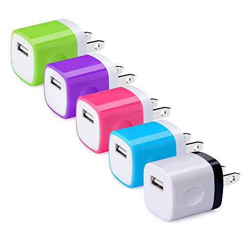 USB Wall Charger, Hootek USB Plug 5-Pack 1A/5V Wall Adapter Charging Block for iPhone 7/6/6S Plus, iPad, iPod, Samsung Galaxy S8, S7, S6, S5, Note 8/5, Moto, HTC, LG, Sony, Nokia, Android and More