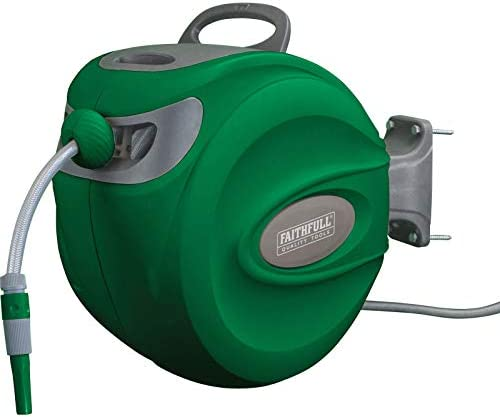 Faithfull Automatic Garden Hose Reel With Wall Bracket 30m |Grey/Green