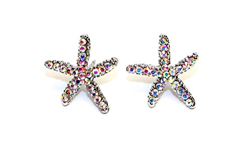 Stainless Earrings Steel Surgical (Surgical Stainless Steel Studs Earrings Starfish Shape Cubic Zirconia Hypoallergenic Earrings)