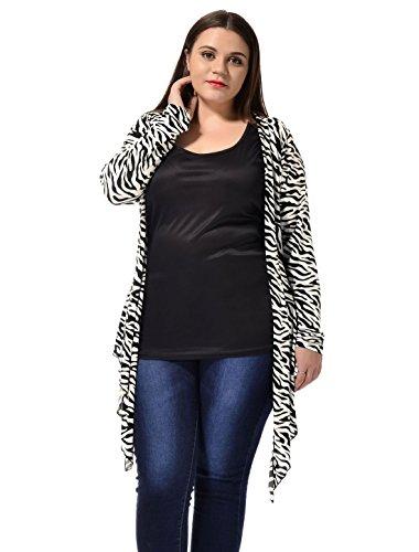 Kaia Women's Plus Size Zebra Prints Open Front Drape Cardigan White Black 1X ()
