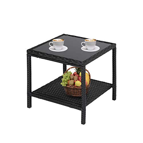 Kinbor 2 Tire Wicker Rattan Side Table with Storage, Outdoor Patio Square Glass Top Wicker Coffee Table End Side Storage Table