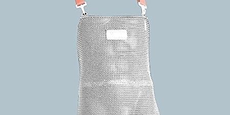 Edelstahl-Stechschutzschürze STAHLNETZ, Stechschutz-Kettenschürze, Edelstahl Hemdschürze, Arbeitsschürze für Metzger & Werkarbeiten, (Ringdurchmesser: Ø 7 mm), EN 13998, Größe:85 x 55 cm Schlachthausfreund