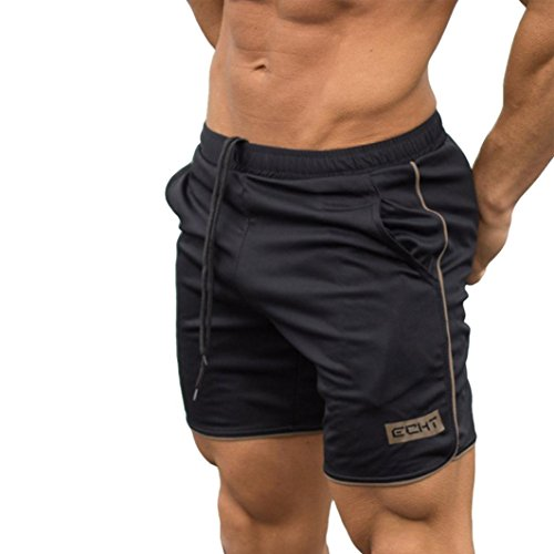 Price comparison product image Men Shorts Casual, Haoricu Clearance Men's Sports Training Workout Summer Shorts Fitness Gym Short Pants with Pocket (L,  Gold)