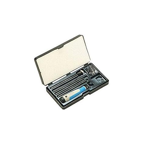 NOGA NG9200 Machinists Deburring Set INCLUDES: (1) NogaGrip 3 handle.(1) Each of holders N, S, C & D.(1) Each of blades C20, D50, N1, N2,S10, S20, S30 & - Deburring Tool