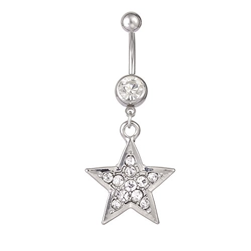 Star Navel Ring - CABBE KALLO Belly Button Rings 14G Stars Dangle Navel Rings Stainless Steel Body Piercing Jewelry (Crystal Clear 14G=1.6mm)