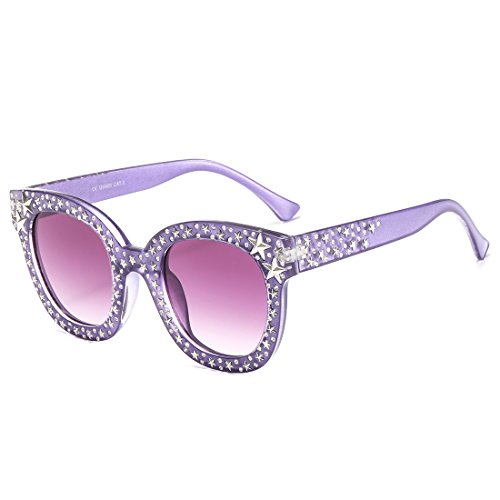 MAOLEN Round Oversized Gradient Shades Crystal Sunglasses for Women (round - Temple Sunglasses Rhinestone