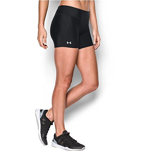 Under Armour Women's HeatGear Authentic Middy Shorts, Black/Silver, Medium (Under Womens Compression Armour Shorts)