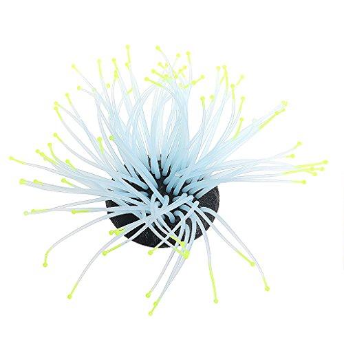 Mimgo Aquarium Fish Tank Luminous Sea Anemone Artificial Coral Ornament Decoration (Yellow) -