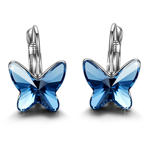 (Brilla Women's Butterfly Hoop Earrings Stud Jewelry with Swarovski Crystals)