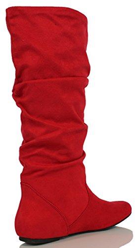 Soda Frauen Zuluu Slouchy Kunstleder Knie hohe Wohnungen Stiefel Red Faux Wildleder