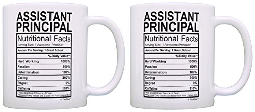 School Principal Gifts Assistant Principal Nutrional Facts Label Principal Appreciation 2 Pack Gift Coffee Mugs Tea Cups White