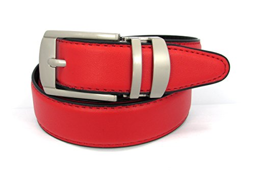 Belt Matte - Reversible Leather 30mm Belt (40, Red)