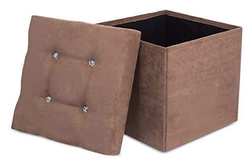 (Internet's Best Folding Storage Ottoman with Bling, Upholstered, Suede, Strong and Sturdy, Quick and Easy Assembly, Foot Stool, Brown)