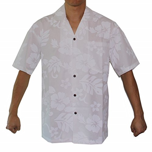 Alohawears Clothing Company Men's White Hibiscus Wedding Cruise Luau Hawaiian Shirt (M, White)